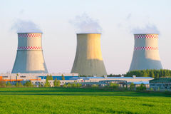Power plant with huge cooling towers Stock Photography