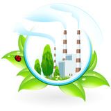 Power Plant Icon. With Leaves and Ladybird Royalty Free Stock Photo