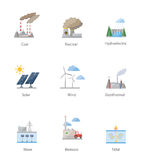 Power plant icon vector symbol set Royalty Free Stock Photography