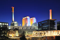 Thermal power plant by night #3 Royalty Free Stock Photos