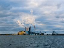 Power plant by the lake in Konin, Poland.  royalty free stock photo