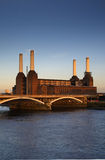 Power plant - London, Battersea. The power plant from the banks of the Thames, London Royalty Free Stock Images