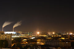 Power plant in the mid of Paris in France at night. Longterm exposure of a power plant in the mid of Paris in France at night royalty free stock photos