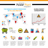 Power Plant And Mineral Extraction Infographic Royalty Free Stock Image