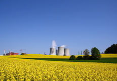 Power plant in nature. Nuclear power plant set in spring nature stock photography