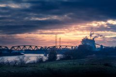 Power plant. Near River Maas in Buggenum, Netherlands Stock Image