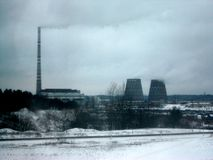 Power Plant near Vilnius. Photo taken of a power generation plant near Vilnius, Lithuania on a cold Winter's day stock images