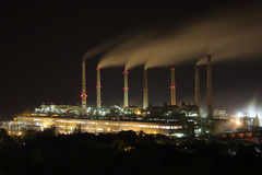 Power plant at night Stock Images