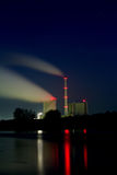 Power plant at night. The picture shows a coal plant at night stock photos