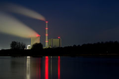 Power plant at night. The picture shows a coal plant at night royalty free stock photo