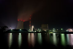 Power plant at night. The picture shows a coal plant at night royalty free stock image
