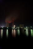 Power plant at night. The picture shows a coal plant at night royalty free stock photos