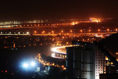 Power plant in night. The power plant in the night with beautiful light Stock Photo