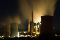 Power plant at night Royalty Free Stock Photo