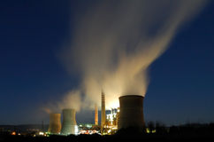 Power plant at night Royalty Free Stock Photography