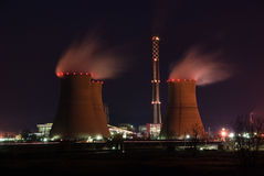 Power Plant at night Stock Image