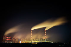Power plant at night. Royalty Free Stock Photo