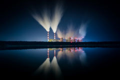 Power plant at night. Stock Photos