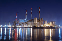 Power Plant by Night, New York City. Power Plant from Roosevelt Island by Night, New York City Stock Images