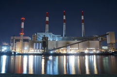Power Plant by Night, New York City. Power Plant from Roosevelt Island by Night, New York City Royalty Free Stock Image