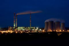 Power plant by night - Pocerady Royalty Free Stock Photo