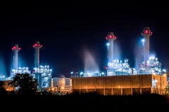 Power plant at night. Running time Stock Photos