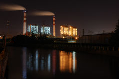 Power Plant Night Scene Royalty Free Stock Photos