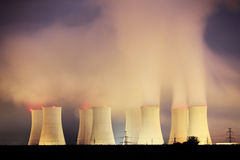 Power plant Nuclear by night Stock Images