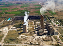Power plant in operation, aerial Royalty Free Stock Photography