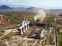 Power plant in operation, aerial. Fossil fuel power plant in operation, aerial view royalty free stock photos