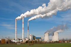 Power plant in Pocerady (Czech Republic). Power plant in Pocerady - smoking chimneys royalty free stock photo