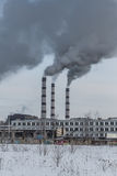 Power plant pollutes the environment Royalty Free Stock Image