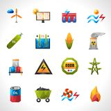 Power Plant Polygonal Icons Royalty Free Stock Images