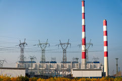 Power plant pylons and power line Royalty Free Stock Images