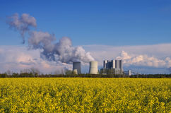 Power plant and rape field Stock Image