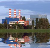 Power plant with reflection stock photography