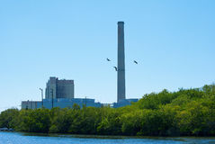 Power plant on a river Royalty Free Stock Photography
