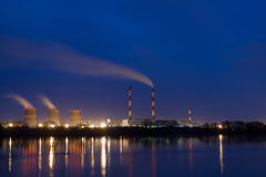 Power plant on the river stock images