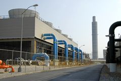 Power Plant Scrubber. Facility used to control plant emissions Royalty Free Stock Photo