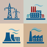 Power plant set. Power plant, electrisity icons set Stock Photo