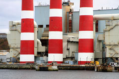 Power plant smoke stacks Stock Photo