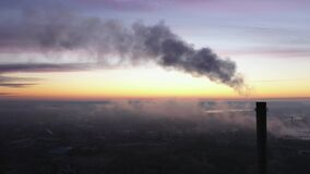 Power Plant Smokestack at Sunrise, Environmental Pollution