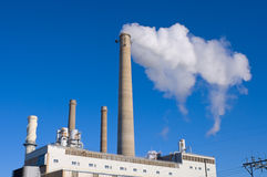 Power Plant and Smokestacks Stock Image