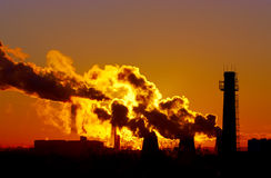 Power Plant Smokestacks Stock Photography