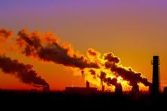 Power plant smokestacks Royalty Free Stock Photo