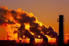 Power plant smokestacks Stock Photo