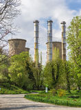 Power plant in spring landscape Stock Images