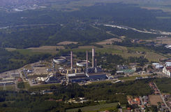 Power plant station.Aerial view. Royalty Free Stock Images