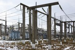 Power plant is a station of transformation. A lot of cables, pol. Es and wires, transformers. Electro-energy stock image