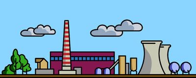 Power plant. Power station vector background illustration with simple spot colors Stock Photos
